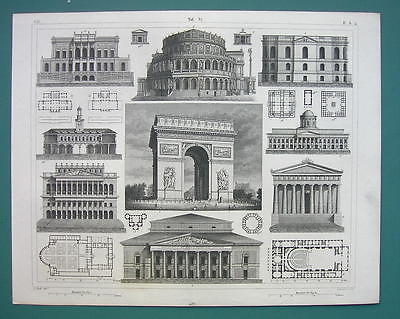 Primary image for ARCHITECTURE PRINT 1844 - PARIS Triumphal Arch Dresden Mantua Casino at Liege