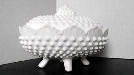 Antique Fenton Milk Glass Hobnail Footed Covere... - $26.99