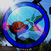 Stained Glass hummingbird shadow window suncatcher - $258.00