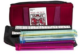 American Mahjong Set Soft Burgundy Bag 166 Tiles 4 Colored Pushers 4 Pla... - $104.44