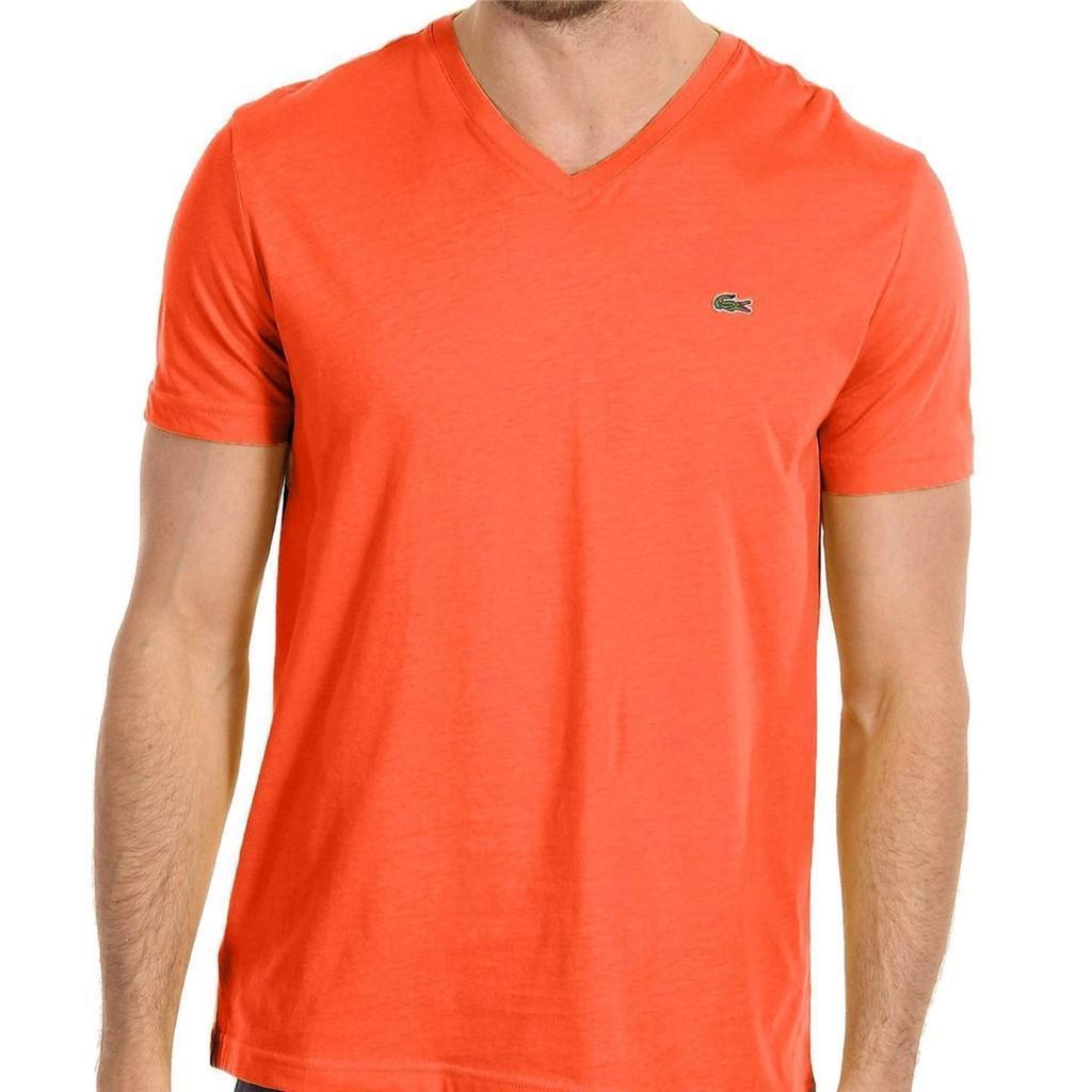 NEW LACOSTE MEN'S ATHLETIC COTTON V-NECK SHIRT T-SHIRT CITROUILLE SIZE XL