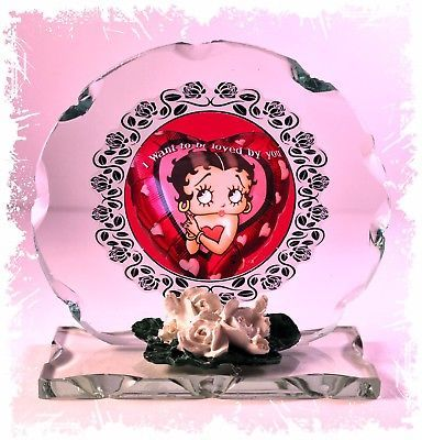 "Betty Boop ""I want to be loved by you""  Birthday Gift Cut glass plaque #1"