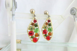1960s Mod Colors Rhinestone Pendant Earrings Clip Goldtone Abstract Free... - $13.50