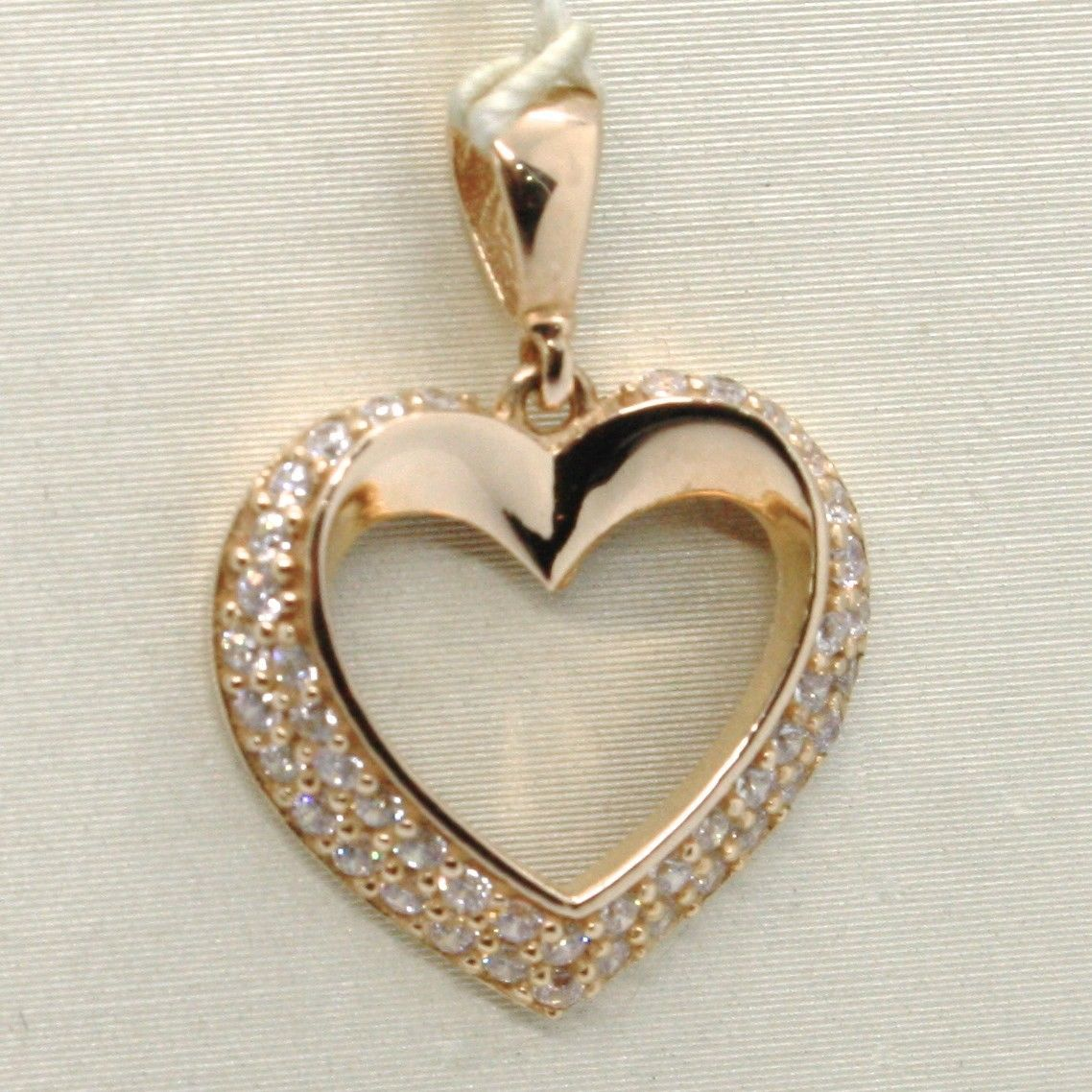 18K ROSE GOLD HEART PENDANT CHARM, CUBIC ZIRCONIA LUMINOUS BRIGHT, MADE IN ITALY
