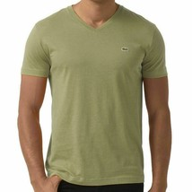 NEW LACOSTE MEN'S PREMIUM PIMA COTTON SPORT V-NECK SHIRT T-SHIRT SILEX GREEN