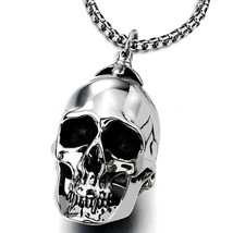 Large Stainless Steel Skull Pendant Necklace for Men High Polished with ... - $58.90