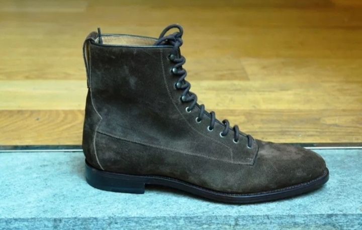 Suede Leather High Ankle Rounded Toe Men Gray Color Stylish LaceUp Vintage Boots image 2