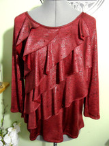NOTATIONS Tiered Ruffle Blouse M Red Black Sparkle Shimmer T-shirt knit Scoop nk - $17.81
