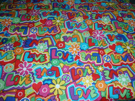 "Love Too Spring Creative Very Colorful Flowers 100% Cotton Fabric 44"" Wi... - $8.99"