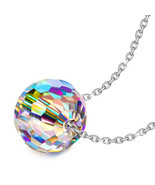 """NEW Aurora Borealis AB Crystal Necklace in  Silver ITALY MADE 18"""" - $14.69"""