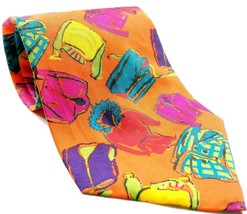 Gap Clothing Parka Jacket Suit Coat Vest Men's Novelty Orange Silk Tie - $12.75