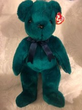 Ty Beanie BUDDY OLD FACE TEAL BEAR BUDDIES large NEW w Tag Free Shipping - $11.60
