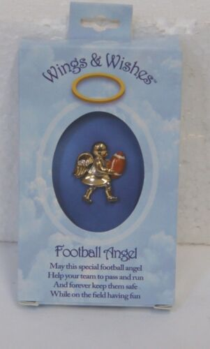 DM Merchandising Wings Wishes Football Angel Gold Colored Angel Holding Football