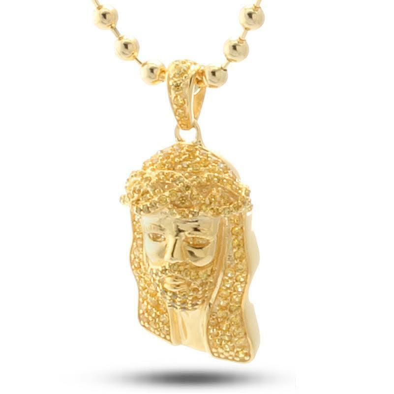 King Ice Micro Gesù Pezzi 14K Placcato Oro Giallo 925 Ciondolo Con Cz Collana