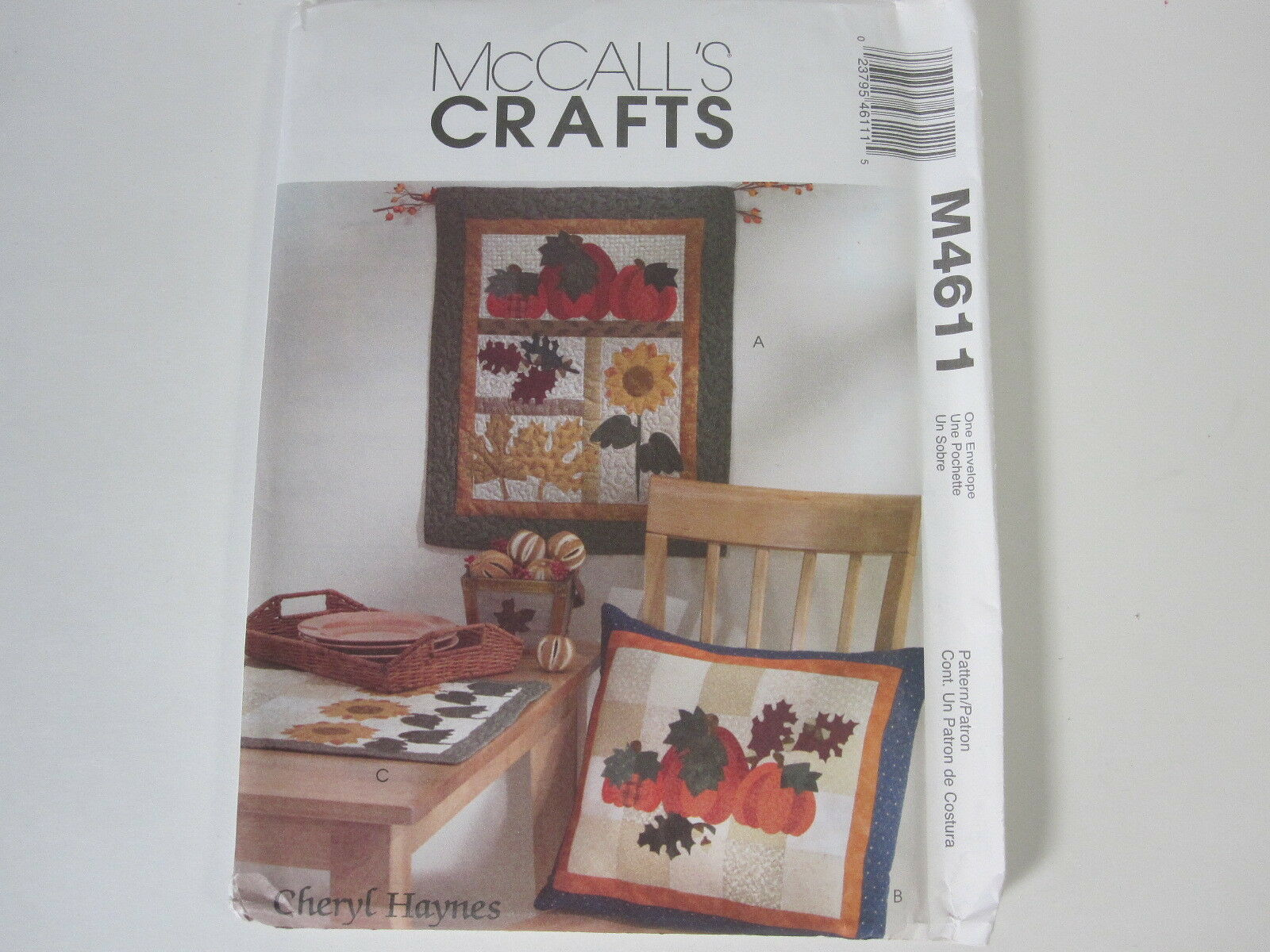 McCall's Crafts Pattern #M4611 Harvest Sampler Wall Hanging Pillow Runner Uncut