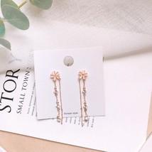 2020 Korea Elegant Flower Earrings Dangle Metal Chain Earrings Shiny Cry... - $10.22