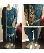 Pakistani Dark Teal Straight Shirt Chiffon Suit, Fancy Threadwork and Se... - $123.75