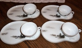 Fukagawa Arita 8 Piece Tea Cup Snack Tray Set 903 Hand Painted landscape... - $49.49