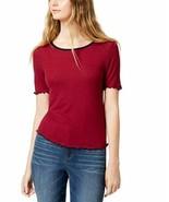 Almost Famous Top Short Sleeve Junior Color Blocked Lettuce Maroon Women... - $6.00