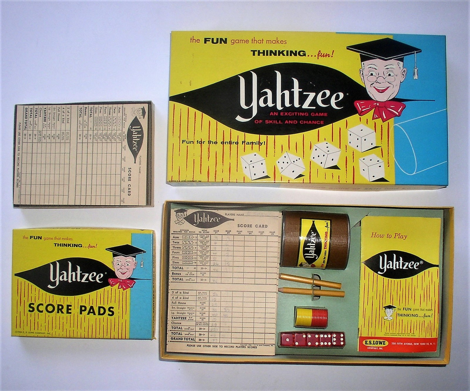 1961 Yahtzee E.S. Lowe Dice Game #950 & Extra Score Pads No. 6/100