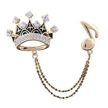 Party Supplier Unisex Brooch Rhinestone Crown Pattern Gold Plated Badge