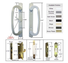 Patio Door Handle Kit with Mortise Lock and Keepers, A-Position, White,N... - $59.35