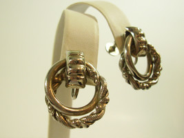 Vintage Lisner  Double Loop Twist Silver Plate Screw Back Earrings Estat... - $13.37