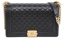 Chanel 16A Black Lambskin Leather BOY BAG NEW M... - $4,801.50