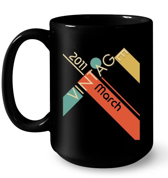 Retro Classic Vintage Born In March 2011 Gift 7 Years Old Gift Coffee Mug