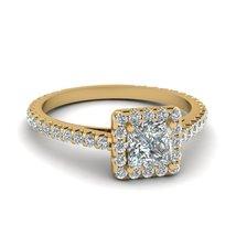 Princess Cut White CZ Diamond Engagement Halo Ring Yellow Gold Fn - $95.99