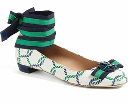 Tory Burch Maritime Ankle Wrap Flats Isle Ribbon Ballerina Bow Shoes 10.5  - $139.00