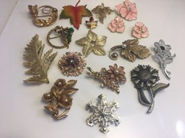 Vintage Flower Leaf Pin Lot 16 Pieces 1 Set  Sarah Coventry Metzke Brooches - $45.39