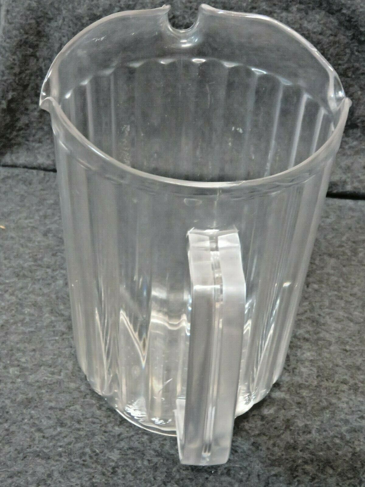Lot of 4 Bakers Chefs Restaurant Commercial 60oz Clear Plastic Pitchers 3 Spouts