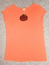 Orange Sequined Pumpkin Short Sleeved Top Girls Size 10-12 - $2.88