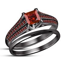 14k Black Gold Plated 925 Silver Bridal Wedding Ring Set Princess Cut Red Garnet - $92.30