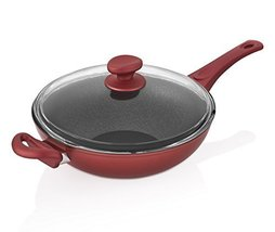 Saflon Titanium Red Nonstick 11-Inch Wok / Stir-Fry Pan with Tempered Glass Lid - $49.99