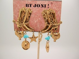 Vtg By Joni Americana Country Western Cowboy Hat Boot Star Dangle Earrings - $16.80