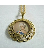 Aurafin 4 14K Yellow Gold chain18k hand painted 5g vintage cameo pendant... - $593.99