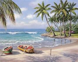 Paint By Numbers DIY Kit Boat Seascape A Secret Beach 40CMx50CM Canvas - $14.85