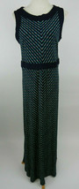 Lands End M 10-12 Maxi Dress Sleeveless White Green Polka Dots Blue Trim... - $29.69