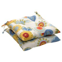 "Pillow Perfect Indoor/Outdoor Floral Tufted Seat Cushion, 19"" L x 18-1/2... - £34.29 GBP"