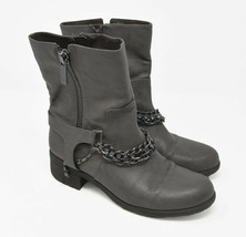 Vera Wang Womens Sz 8M Gray Zip Up Chain Ankle High Motorcycle Riding St... - $39.99
