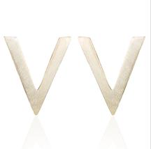 5 pairs of  Letter V Golden Stud Earring Stud (NED234A) - $12.50