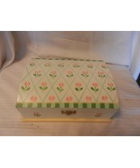 Large White Wooden Trinket Jewelry Storage Box with Red & Green Flowers - $29.70