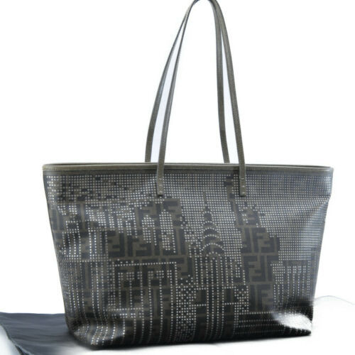 FENDI Zucca Canvas PVC Leather Tote Bag Black Khaki Auth 8091 - $720.00