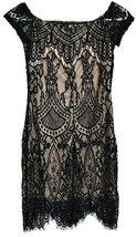 Love, Fire Women's Zip Up Black Lace Overlay Short Sleeve Dress Size S image 2