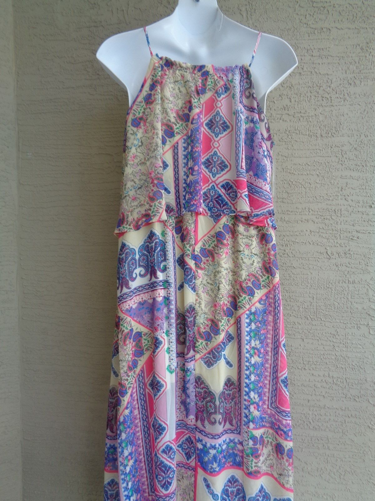 New Directions 1XPrinted Popover Polyester Chiffon Fabric Maxi Dress   msrp $68.