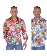 70's Pimp / Hippy Shirt , Peace Sign  Shirt with big Collar   - $30.90