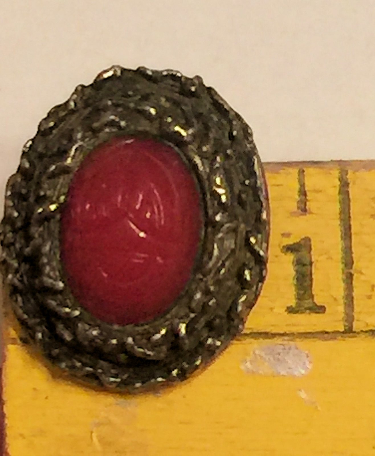 VTG 60s Clip On Earrings~Dk Red Oval Scarab Beetle Cabochon/Darkened Gold Tone image 7