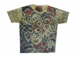 Men T Shirt Picasso Dada Art Rock Hippie faces new cotton graphic tee L MIRROR a - $12.86